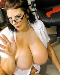 Busty mature lady solo play