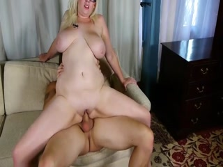 Sexy Busty Blonde Woman Gets Cum On Her Tits