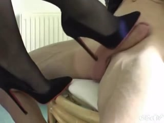 Naughty Mature Bitch Using Her Sexy Stilettos On A Rock Hard