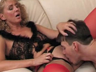 Hot Mature Chick In Red Stockings Getting Screwed In Spread-Eagle Position