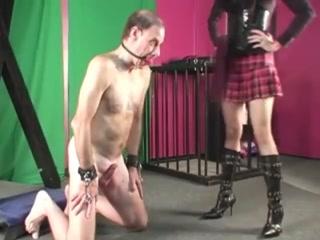 Merciless Ballbusting & Kicking Of A Slave