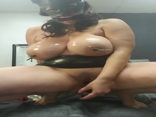 Crazy Latina With Giant Tits Inserting A Big Dildo In Her Mature Pussy Hole